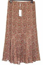 AUSTIN REED New Tag Silk Chiffon Skirt Fit Flare Flippy Elasticated Size 12 Lind