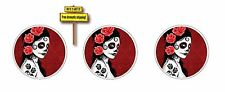 Set of (3) Day of the Dead Skull Girl Red Sticker/Decal Dia De Los Muertos DOD7