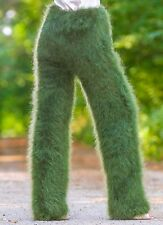 GREEN hand knitted mohair pants fuzzy trousers leg warmers by SUPERTANYA S M L