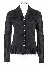 ISSEY MIYAKE Black 100% Cotton Pleated Lace Detail Button Up Top Blouse Size 4