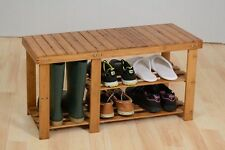 Wooden Slatted 3 Tier Shoe Rack Bench Storage Stand Shelf Holder Cabinet Seat