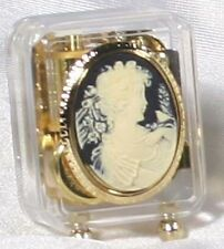 Lady w/Curls In Ebony Cameo Music Box #BC1122