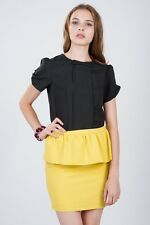 TBI The Blush Inc Lincoln Peplum Skirt In Daffodil Yellow (Size S)