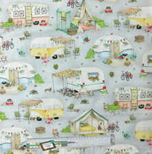 Quilting Patchwork Sewing Fabric CARAVAN GREY Cotton Material 50x55cmFQ NEW