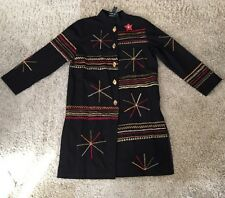 Indigo Moon Black Embroidered HIPPIE BOHO Cotton Med Length Jacket, Size M
