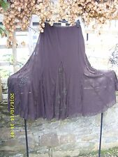 Per Una Marron foncé brodé Long Ample Mousseline Net Hippy Boho Jupe UK 12/14