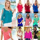 2016 Women's Cut Out Sleeve Strap T Shirt Cold Shoulder Hem Tops Casual Blouse