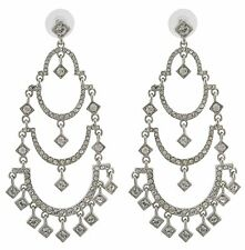 Zest Three-Tier Chandelier Swarovski Crystal Pierced Earrings Silver