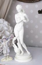 Vintage Frauenfigur Leda Schwan Skulptur erotische Göttin Figur Weiss Frauenakt