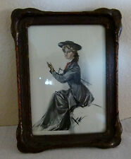 1907 Antique pie crust picture frame w/ Harrison Fisher print Charles Scribner's