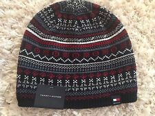 Tommy Hilfiger Mens Knit Hat Navy Blue Red Fair Isle NWT