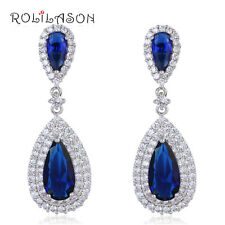 JE1006 Saphire Stud Earrings Blue Zircon Sillver Filled Topaz Fashion Jewelry