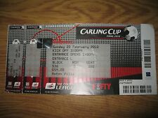 Rare Man United v Aston Villa unused Carling Cup final ticket  28 February 2010