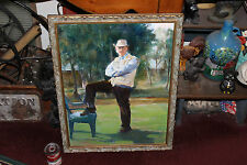 Superb Oil Painting Of Old Cowboy W/Stern Look-Portrait-Foot On Chair-LQQK