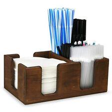 Bar caddy en bois en chêne sombre tache   bar condiment caddy support pour serviettes pailles