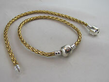 19cm SP GORGEOUS GOLDEN BRAID LEATHER CHAINS FOR EUROPEAN STYLE CHARM BRACELETS