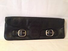 Vintage DKNY Black Leather Clutch Envelope Evening Bag Purse
