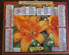 Calendrier ALMANACH du facteur la poste PTT 1994 lis roses