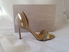 NIB Sz 7 $825 Jimmy Choo 'Mesreen' -Suede Nude Mix -Open Toe Sandals eu 37