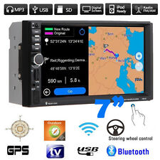 "Double 2 DIN Car 7"" MP3 MP5 Player Stereo FM Radio GPS Sat Nav Bluetooth USB AUX"