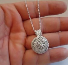 925 STERLING SILVER TRIBAL LOCKET NECKLACE PENDANT W/ ACCENTS / SZ 31MM BY 21MM