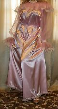 Vtg Pink Long Sweep Palazzo Harem Pants Jumpsuit Nylon Satin Nightgown 1X 2X