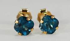 RADIANT! GENUINE MINED CUSHION LONDON BLUE TOPAZ EARRINGS~14 KT YELLOW GOLD~5MM