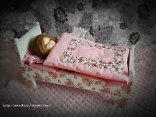 SALE ! The wooden bed and bedding for BJD dolls and similar.The size Littlefee..