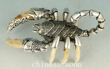 Noble Chinese Tibet Silver Inlay Wolf Tooth Scorpion Statue Pendant