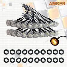 """20X Mini 12V Amber Clear 3/4"""" Round Side 3 LED Marker Trailer Truck Bullet Light"""