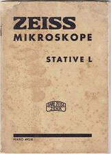 Carl ZEISS Microscope Stative L Micro 492/III Illustrated CATALOG, Germany 1939
