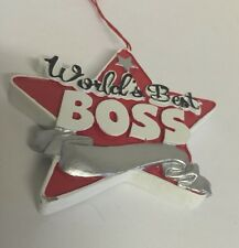Christmas Ornament Occupation Theme Worlds Best Boss 3 Inch Red Star Bosses Day