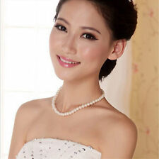 Fashion Genuine glass white Pearl  Necklace Jewelry 8mm
