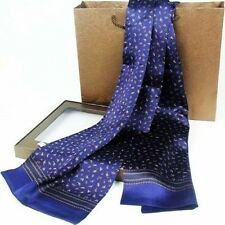 "Luxurious Mens 100% Silk Long Scarf/Cravat Double Layer 63""X12"" Blue●M001#"