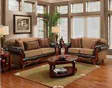 Radar Mocha Traditional Sofa & LoveSeat Living Room Furniture Set Wood Chenille