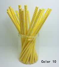 25 Paper Straws Chevron Striped Drinking Straw Party Wedding Birthday Color 10