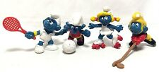 "Peyo Vintage Lot 4 Sports Soccer Hockey Tennis Skating Smurf 2"" Toy Figures EUC"