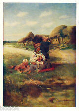 1964 RARE Russian card PEASANT WOMAN WITH CHILDREN by Vladimir Makovsky