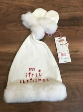 Mothercare Baby My 1st Christmas White Hat & Gloves Set - 0-3 Months - BNWT