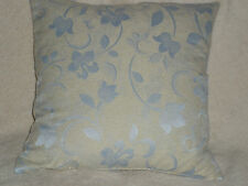 "16"" BEIGE & PALE BLUE CUSHION COVER MADE WITH DUNELM FABRIC--SWIRLY FLORAL"