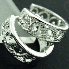 FS479 GENUINE REAL 18K WHITE GOLD G/F SOLID CLASSIC ANTIQUE DESIGN HOOP EARRINGS