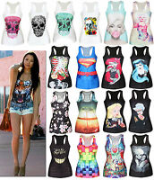 Sexy Women Print Sleeveless Vest Tank Tops Blouse Gothic Punk Rock Party T-Shirt
