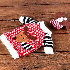 2Pcs Christmas Wine Bottle Cover Clothes Cap Xmas Santa Reindeer Table Decor