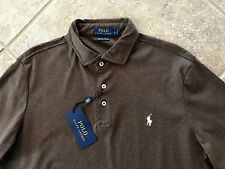 Polo Ralph Lauren Soft Touch Pima Interlock Shirt L Brown w/Ivory Pony $89 NWT