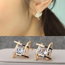 Women Fashion Lovely Elegant Crystal Rhinestone Square Ear Stud Earrings Jewelry