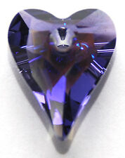 SWAROVSKI WILD HEART PENDANT 6240, CUSTOM COATED GLACIAL TANZANITE PURPLE, 27 MM