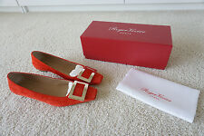 New Roger Vivier Belle Vivier Suede Pump Red Orange Size 40
