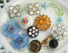 #649J Vintage Glass Buttons Flower Czech Flowers Gorgeous Self Shank Limoges