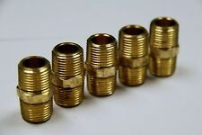 """Brass Fittings: Brass Hex Nipple Size 1/4"""" Quantity of 5"""