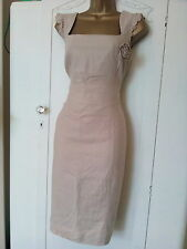 Dunnes dress 10/12 Linen work smart occasion summer holiday cruise cream wiggle
